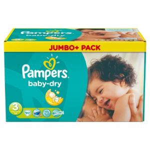 Pampers Baby Dry taille 3 Midi (4-9 kg) - Pack Jumbo Plus 90 couches