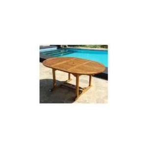 Table de jardin ovale en teck huilé 120/170 x 120 x 75 cm
