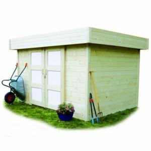 Solid S8217 - Abri de jardin Stockholm en bois 28 mm avec toit plat 8,30 m2