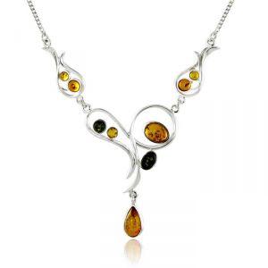 Rêve de diamants COBA01038 - Collier en argent 925/1000 et ambre