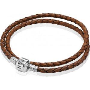 Pandora 59705CBN-D3 - Bracelet pour femme double tour en cuir