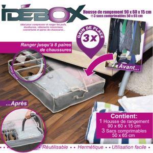 Idebox GLO6203 - Housse de rangement sous vide dessous lit