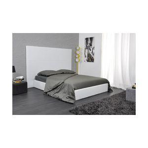 Lit coffre de rangement Nude avec tête de lit et sommier en simili cuir (180 x 200 cm)