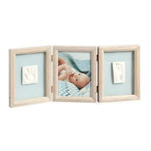 Baby Art Double Print Frame Stormy - Cadre photo 3 volets avec 2 empreintes my baby touch