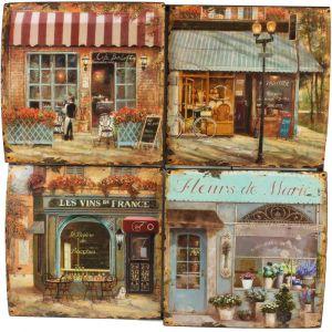 Plaque décorative Publicité boutiques (40 x 40 cm)
