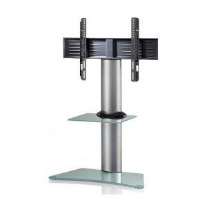 Vcm 17065 - Meuble colonne TV avec pied et étagère en verre