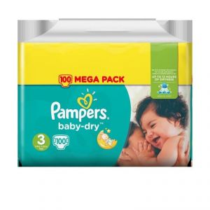 Pampers Baby-Dry taille 3 (5-9 kg) - 100 couches