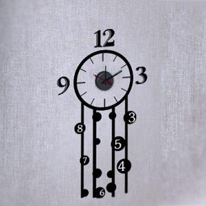 Horloge murale sticker Design Lierre