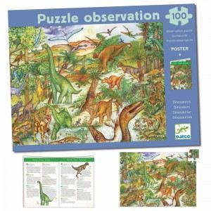 Djeco Puzzle Découverte dinosaures + Poster et livre 100 pièces