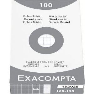 Exacompta Etui de 100 fiches bristol 205g quadrillé 5x5 non perforées (100 x 150 cm)