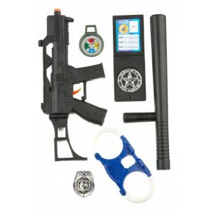 Kit policier enfants avec mini famas, portefeuille et accessoires