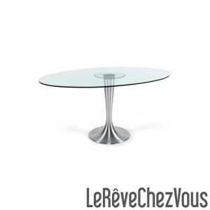 Kokoon Design Table à manger Ellipse en verre