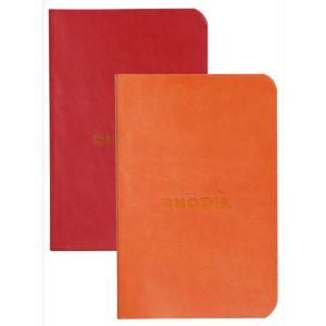 Rhodia 117213C Rhodiarama coquelicot/tangerine - Lot de 2 carnets souples format 7 x 10,5 cm, 64 pages