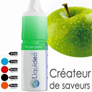 Liquideo Po Po Pom - E-liquide à la pomme pour E-cigarette rechargeable (avec ou sans nicotine) 10ml