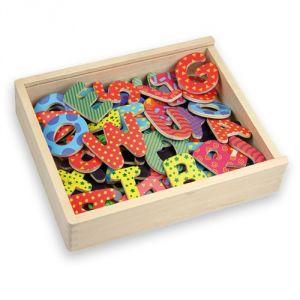 Andreu Toys Lettres et nombres magnétiques décorés en bois naturel