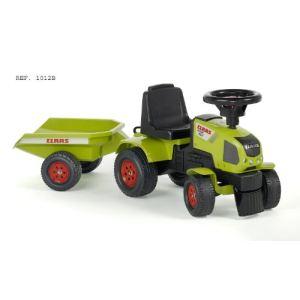 Falk / falquet Porteur Baby Tracteur Claas Axos + Remorque