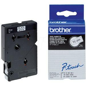 Brother TC 201 - Ruban laminé 12 mm blanc écriture noire