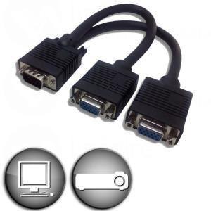 Adaptateur VGA HD15 mâle vers 2 VGA HD15 femelle 0,2 m