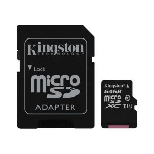 Kingston SDC10G2/64GB - Carte mémoire microSDXC 64 Go Class10 UHS-I + adaptateur SD