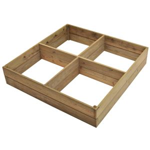 Jany 781448 - Carré potager en pin 4 compartiments 120 x 120 x 24 cm