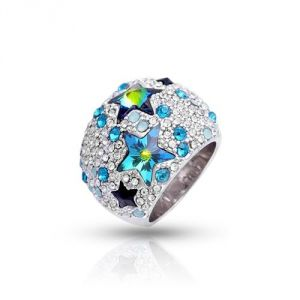 Blue Pearls Cry H402 C - Bague Dome Étoiles en Cristal Swarovski Elements bleu