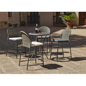 Hévéa Antea 75/4+4C - Ensemble de jardin table et 4 chaises avec coussin