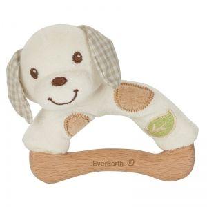 EverEarth EE33692 - Hochet peluche chien en bois