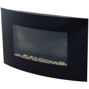 Cheminée électrique fixation au mur télécommande température réglable éclairage led acier inoxydable