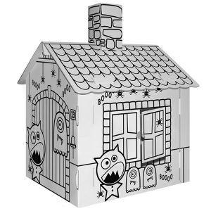 Villa carton Maison hantée en carton à colorier