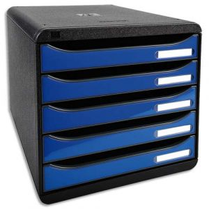 Exacompta 3097279D - BIG-BOX PLUS, coloris noir/bleu glacé brillant