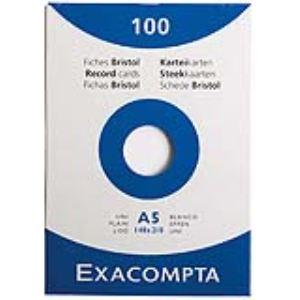 Exacompta Etui de 100 fiche sbristol 205 g uni non perforées (A5)