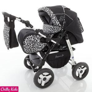 Chilly Kids Jaguar J1 - Poussette canne combinée avec nacelle, siège auto cosy et chancelière parasol