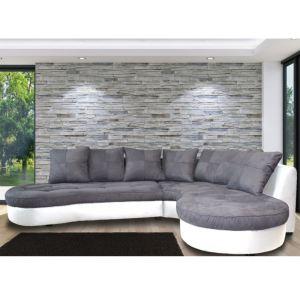 Canapé d'angle droit Stéphane en tissu et simili