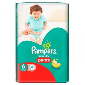 Pampers Baby-Dry Pants taille 6 Extra Large + 16 kg - 32 couches