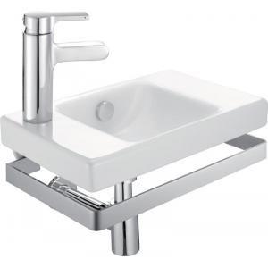 Jacob Delafon E4701-00 - Lave-mains compact ODEON UP 50x22 cm pré-percé 2 trous latéraux. possibilité d'installation sur meuble ODEON UP blanc