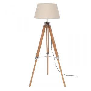 NATURE - Lampadaire en bois avec abat-jour en tissu 144 cm
