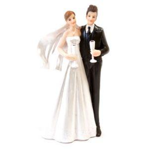 Figurine couple de mariés avec coupes de Champagne