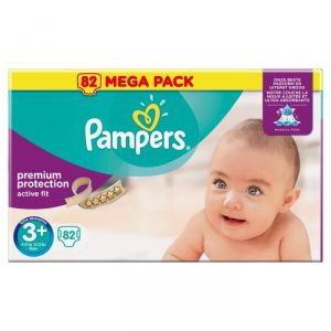 Pampers Active Fit taille 3+ Midi+ 5-10 kg - 82 couches