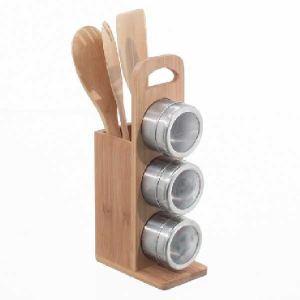 Secret de Gourmet Porte ustensile 2 en 1 avec 3 pots à épices