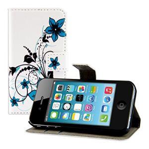 Kwmobile 16493 - Etui Wallet en cuir motif Fleurs pour Apple iPhone 4 et 4s