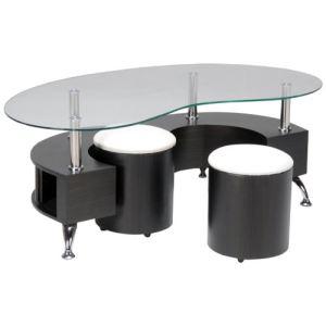 Table basse Kimbe avec 2 poufs