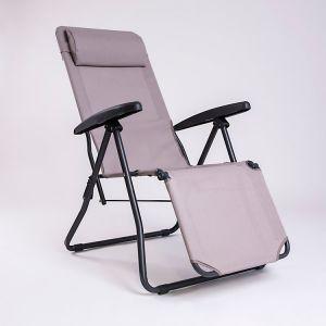 Iris - Chaise longue relax multiposition en acier et tissu synthétique (avec têtière)