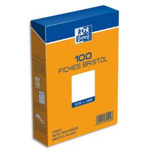 Oxford Boîte de 100 fiches bristol 224 g uni non perforées (105 x 148 mm)
