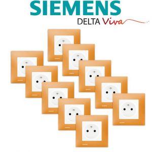 Siemens LOT 10 Prise 2P+T Blanc Delta Viva + Plaque Orange