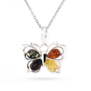 Rêve de diamants COBA02021 - Collier en argent 925/1000 et ambre en forme de papillon