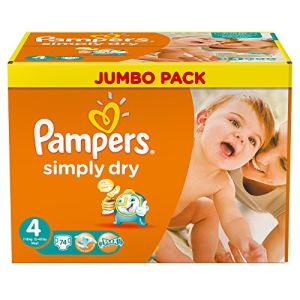 Pampers Simply Dry taille 4 Maxi (7-18 kg) - Jumbo Pack 74 couches