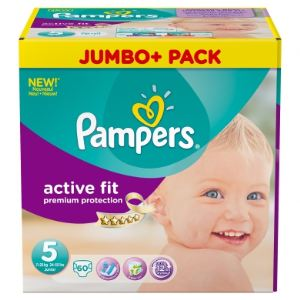 Pampers Active Fit taille 5 Junior (11-25 kg) - Jumbo Plus Pack 60 couches