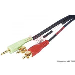 Dexlan 108802 - Cordon sortie audio stéréo jack 3.5mm (M) sur 2x RCA (M) 10m