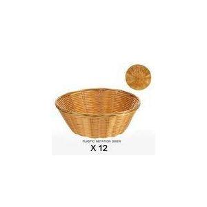 Revimport 12 corbeilles à pain ronde en plastique imitation osier (21 cm)
