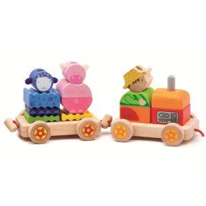 Djeco Train de cubes Créaferme